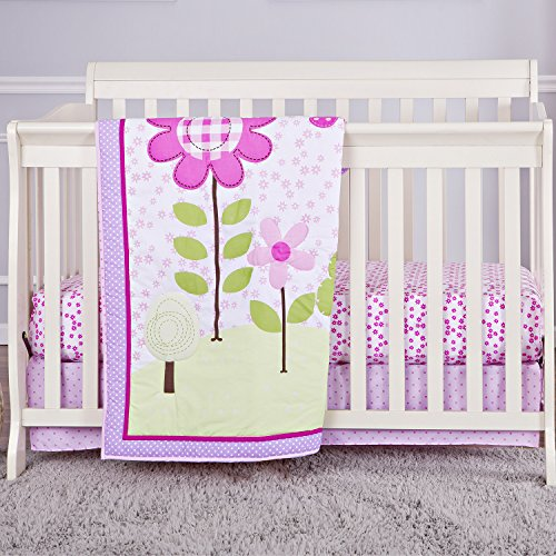 Dream On Me Spring Garden 3 Piece Reversible Crib Bedding Set, Spring Garden