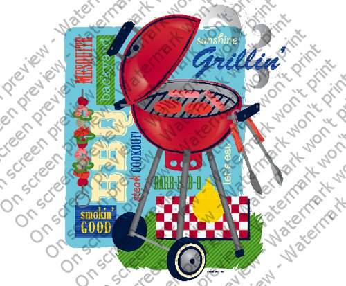 Summer Grilling Party Edible Cupcake Toppers Decoration