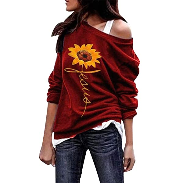 Clearance!! Women's Long Sleeve Top - Casual Sunflower Print One Off Shoulder Blouse Fashion T-shirt Sweatshirt (Red, Large) (Color: Red, Tamaño: Large)