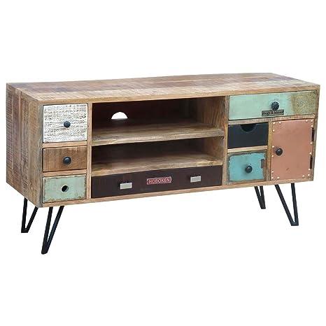 TV Board Lowboard Stord, Mangoholz Massivholz und Metall Bunt, Breite 120 cm, Tiefe 40 cm, Höhe 65 cm