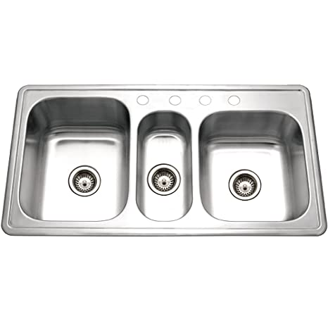 Houzer PGT-4322-1 Premiere Gourmet Series Topmount Stainless Steel 4-Hole Triple Bowl Kitchen Sink