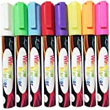 Chalk Markers - Mega 8 Pack - Premium Liquid Chalk Marker Pen with Reversible Tip - Child Friendly - Perfect for Chalkboards, Bistro, Windows, Glass, Labels, Whiteboards