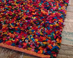 Second Nature Fair Trade Large Hand Loomed Tufted Multi Coloured Rag Rug 150cm X 210cm Amazon