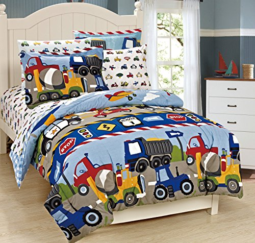 Mk Collection 7 Pc full Size Kids Teens boys Comforter and Sheet Set Blue Red Yellow Trucks Tractors Cars New Full Size (Kid Bedding Full compare prices)