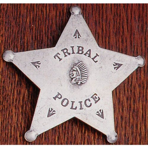 Solid Metal Indian Tribal Police Sheriff 5-Point Style Novelty Obsolete Badge Shield with Indian Head and Arrow Heads in Center
