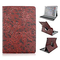 Ipad 6 Case, Take Ao PU Leather Cover Relief Stylish Tactile Impression Flip Kick-stand Case [Wake up & Sleep] for Ipad Air 2/ iPad 6 - Red