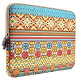 Laptop Sleeve, PLEMO MacBook Pro Sleeve, Bohemian Style Canvas Fabric 15 - 15.6 Inch Laptop Case Bag Cover for Notebook Computer / MacBook Pro / Ultrabook / Chromebook, Sunlight Garden