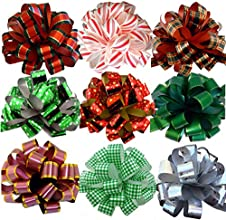 Assorted Large Christmas Pull Bows for Gifts Wreaths Garlands - 8quot Wide Set of 9 Red Green White