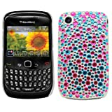 Samrick Chrome Handmade Crystal Gemstone Rhinestone Bling Diamante Protective Case for Blackberry 8520 Curve/9300 Curve - Pink/Blue