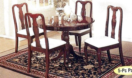 Black Friday 5pc Queen Anne Style Cherry Finish Wood Round Dining Table 4 C