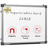 Magnetic White Board 24 x 18 Dry Erase Board Wall Hanging Whiteboard (Color: Silver, Tamaño: 24 x 18)