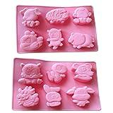 JKLcom Zodiac Silicone Mold Chinese Zodiac Animals Silicone Cake Mold 6 Cavity Silicone Mold for Baking Cake Chocolate Fondant Handmade Soap,2 Pack,Square (Color: Pink)