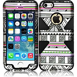 HR Wireless Dynamic Hybrid Cover for iPhone 5C - Retail Packaging - Antique Aztec Tribal/Black