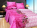 Hargunz cotton Double Bedsheet With 2 Pillow Covers-Pink(bentley-fsy-pnk)