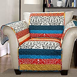 Lush Decor Boho Stripe Slipcover/Furniture Protector for Armchair, Turquoise/Tangerine