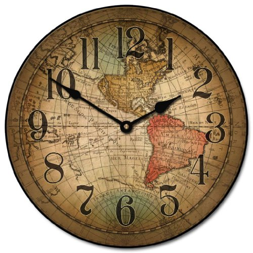 Where to buy Vincenzo World Map Clock 12 36 Whisper Quiet ...