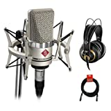 Neumann TLM-102 Studio Condenser Microphone Studio Set (Nickel) with AKG K 240 Studio Pro Headphones & XLR Cable Bundle