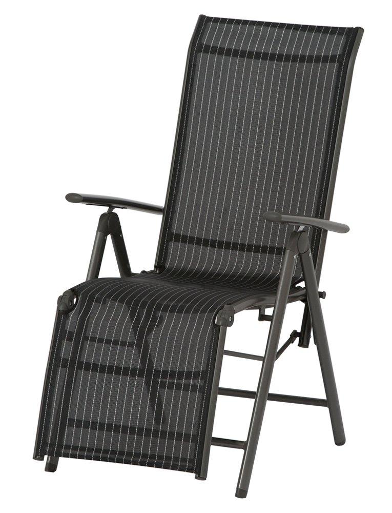 Siena Garden 733158 Relaxsessel Delphi, Aluminiumgestell anthrazit, Ranotex-Textilfaser schwarz / silber, 57 x 68 x 114 cm günstig kaufen