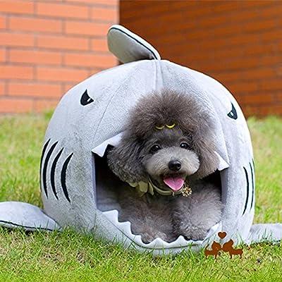 Xinji Pets Dog Cat Soft Shark Tent House Beds Machine Washable