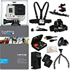 GoPro HERO3+ Silver Edition Camera Kit + All in One Outdoors Kit (Arm Mount + Flat Surface Mount). Includes: Head Strap + Chest Strap + 2 Extended Life Replacment Batteries + Micro HDMI Cable + Premium Hard Cover Case + Tripod Adapter + More