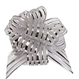 FQTANJU Pull Bow, Large, Organza, 6 Inches, 5 Pieces, Silver