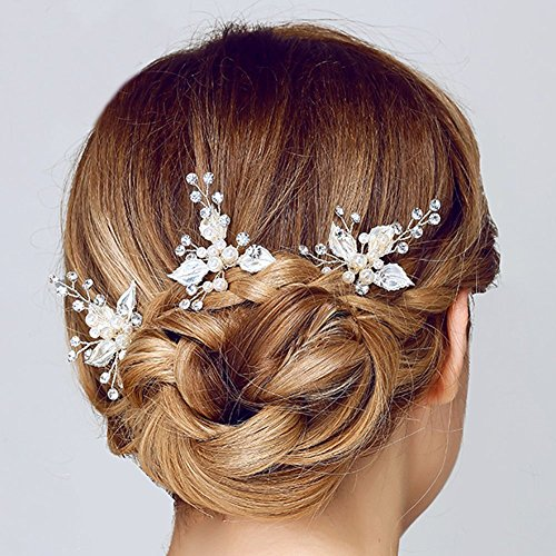 Oureamod Bridal Headpiece Hair Pins Silver Rhinestone Wedding Hair Accessories 3 Pieces
