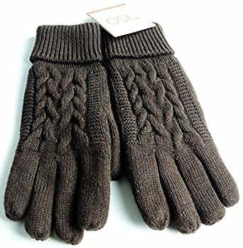 ISO by Isotoner Women's Triple Cable Knit Thinsulate Fleece Lined Gloves (Chocolate)