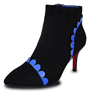 Nine Seven Suede Leather Women's Pointed Toe Stiletto Heel Flower Handmade Ankle Bootie (4.5, blue)