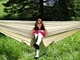 Brazilian Hammock - Double ✮✮ Woven with Quality Cotton Fabric for Superior Comfort & Durability ☆ Couples & Family Friendly 475 Pound Capacity ☆ Large Bed Sleeping Area ☆ Indoor or Outdoor Use ☆ Use as Permanent Fixture in the Yard or at Camp ☆ Portable for Backpacking Excursions ☆ Reigning Beauty Amongst Hammocks ☆ Includes FREE Storage Pouch ☆ 100% Money Back Guarantee (Natural)