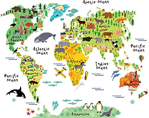 Home Evolution Large Kids Educational Animal/Famous Building World Map Peel & Stick Wall Decals Stickers Home Decor Art (World Wall Map For Kids compare prices)