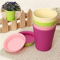 Pretty Plastic Flower Planter Pots With Tray Home Office Garden Decor 6 Colors - B01J5XG8Z8