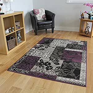 Amazon Milan Purple Black & Grey Patchwork Area Rug