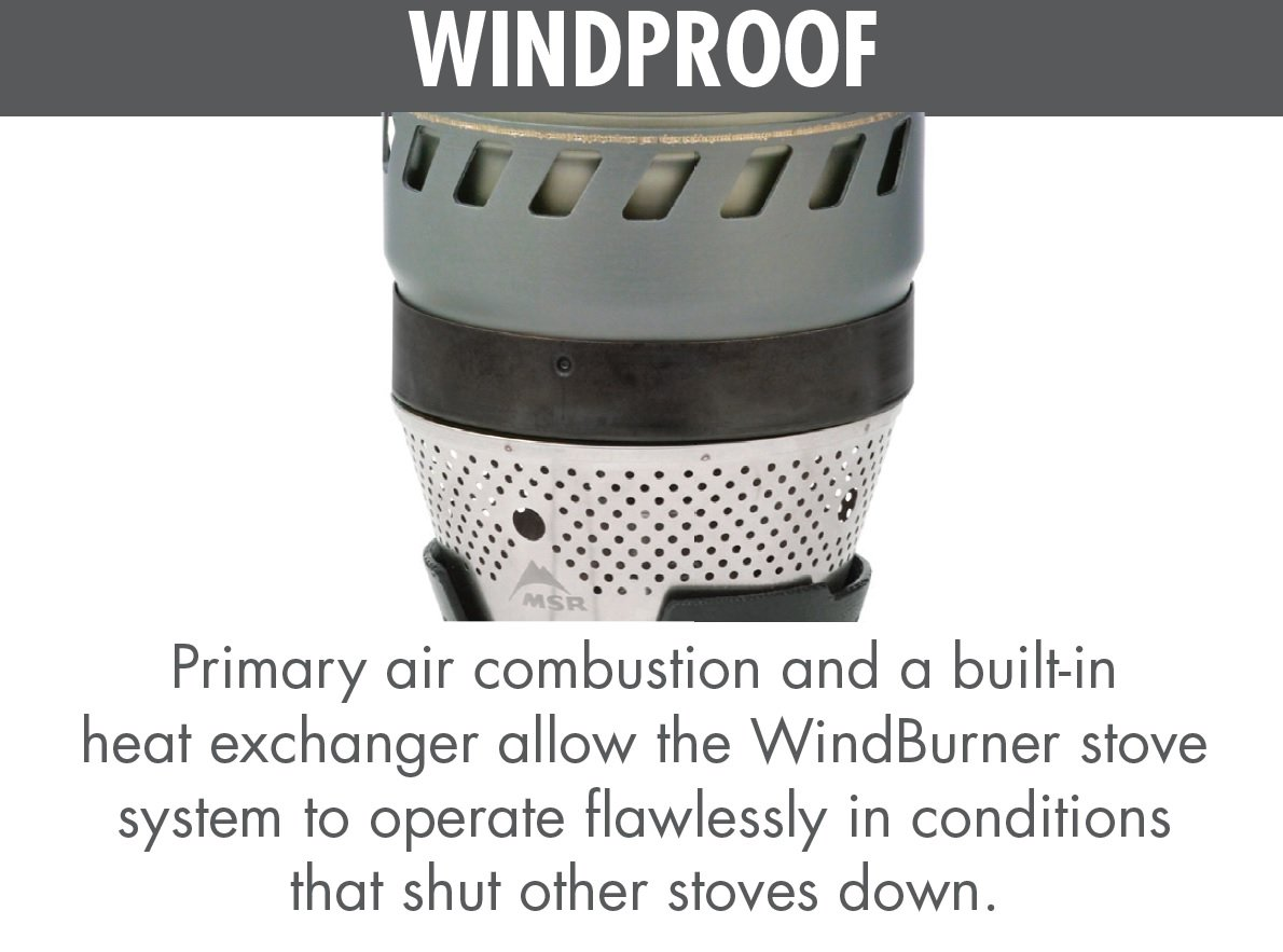 MSR WindBurner Stove System for Fast Boiling Fuel-Efficient Cooking for Backpacking, Solo Travelers, and Minimalist Trips