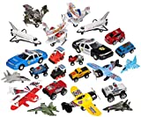 Variety Pack of 16 Random High Quality Pull Back Toy Vehicles, Planes, Space Shuttles, Racing Cars, Trucks, Motorcycles, Military Trucks.