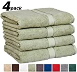 """Utopia Towels Premium Large 100% Cotton Bath Towels, Easy Care, Ringspun Cotton for Maximum Softness and Absorbency, 4-Pack - Sage Green (30"""" x 56"""")"""