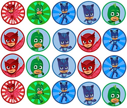 20 PJ Mask Edible Image 1.5 inch Cookie or Cupcake Topppers (Prem Frosting)