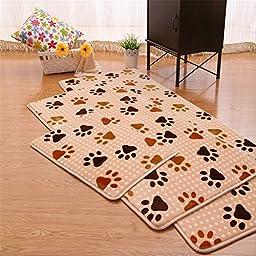Hoomy 3-piece Foot Print Kitchen Rug Soft Coral Fleece Bedroom Area Rugs Modern Memory Foam Floor Mats
