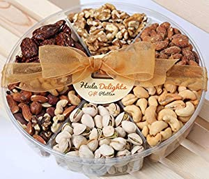 Deluxe Roasted Nuts Gift Tray 6-Section - Hula Delights