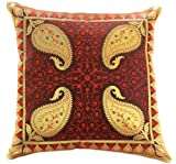"Electric Leaf Decorative 16"" X 16"" Accent Pillow Cover, Set of 2 (Red)"
