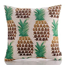 HT&PJ Decorative Cotton Linen Square Throw Pillow Case Cushion Cover Pineapple Design 18 x 18 Inches