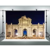 FHZON 10x7ft Madrid Gate of Alcala Backdrop Night Light Travel Photography Background Themed Party YouTube Backdrops Photo Booth Studio Props PFH241 (Color: Madrid Gate of Alcala, Tamaño: 10x7ft)