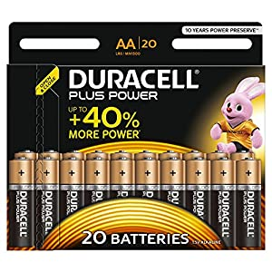 Duracell MN1500 Plus Power AA Size Batteries--Pack of 20