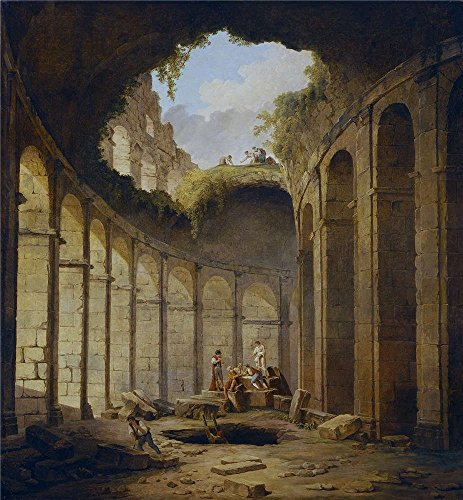 High Quality Polyster Canvas ,the Best Price Art Decorative Canvas Prints Of Oil Painting 'Robert Hubert El Coliseo De Roma 1780 90 ', 18 X 19 Inch / 46 X 49 Cm Is Best For Game Room Artwork And Home Decor And Gifts