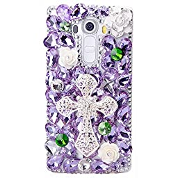 LG G Stylo Case, Sense-TE Luxurious Crystal 3D Handmade Sparkle Diamond Rhinestone Clear Cover with Retro Bowknot Anti Dust Plug - Big Cross Camellia Flowers / Purple