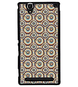 Fuson Premium Circles Pattern Metal Printed with Hard Plastic Back Case Cover for Sony Xperia T2 Ultra