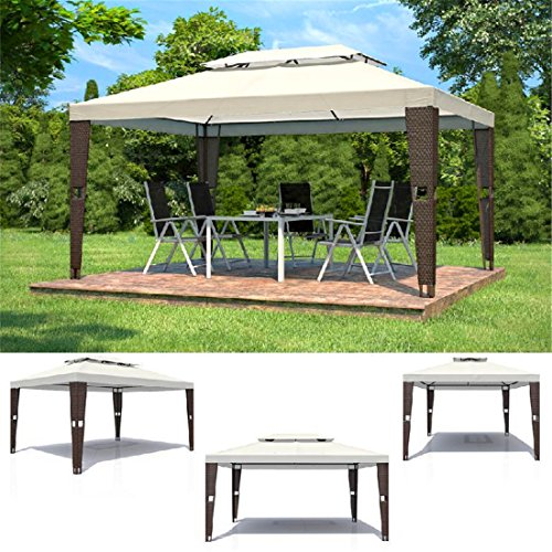 rattan garten pavillon 3x4m polyrattan gartenm bel partyzelt pavillion bierzelt. Black Bedroom Furniture Sets. Home Design Ideas