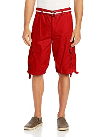 Southpole Men's Belted Ripstop Basic Cargo Short with Washing and 13.5 Inch Length All Season, Red, 29
