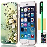 Oksobuy® Apple Iphone 6(4.7 inch) Case Soft Smooth TPU Transparent Material with Classic Unique Fashion design Glitter Shimmering Bling Powder Pattern High Impact Case Cover Skin Protection for Apple Iphone 6(4.7 inch) with Screen Protector and Stylus (Hawaiian flowers case III)