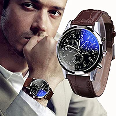 Orangesky Luxury Fashion Faux Leather Mens Blue Ray Glass Quartz Analog Watches