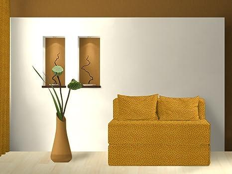 Divano-letto, piccolo fiore, giallo arancio, 120 cm